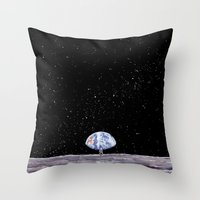 neil gaiman Throw Pillows featuring Neil Armstrong by Enrico Barin Guarise