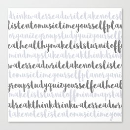 Friendly Study Reminders and Tips Canvas Print