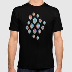 Floating Gems - a pattern of painted polygonal shapes X-LARGE Mens Fitted Tee Black