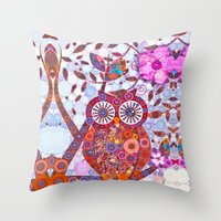 discount Throw Pillows featuring If Klimt Painted An Owl :) Owls are darling birds! by Love2Snap