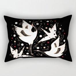 Origami Crane Metamorphosis (Noir) Rectangular Pillow