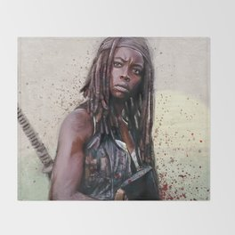 Michonne On The Walls Of Alexandria - The Walking Dead Throw Blanket