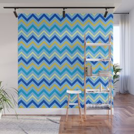 Hanukkah Contemporary Zig Zag Blue and Gold Pattern Wall Mural
