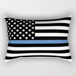 Blue Thin Flag Police Law Enforcement Flag Rectangular Pillow