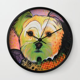 Daisy...Abstract animal pet portrait dog art, Yorkshire Terrier Wall Clock