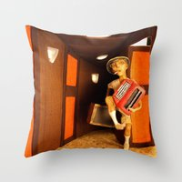 hunter s thompson Throw Pillows featuring Hunter S. Thompson by SwampFox Studio