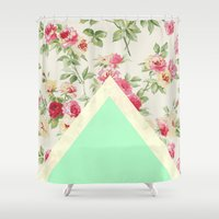 """floral pattern Shower Curtains featuring Floral pattern by """"CVogiatzi."""