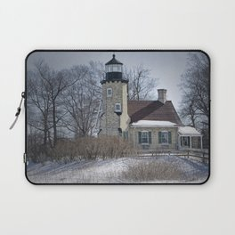 Lighthouse during Winter in Whitehall Michigan Laptop Sleeve