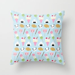 Japanese Kawaii Snacks Throw Pillow