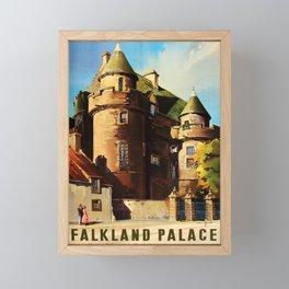 retro Falkland Palace travel poster Framed Mini Art Print