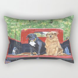 Antique Truck with Dogs Rectangular Pillow