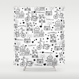 Hello Amsterdam Dutch Hipster travel icons bike and windmill Shower Curtain