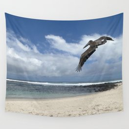 Pelican above the beach Wall Tapestry