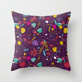 purple seeds Throw Pillow
