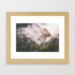 Misty Kazbkek Mounain, landscape,Georgia Framed Art Print