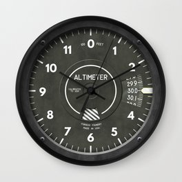 Altimiter Airplane Helicopter Pilot Clock Wall Clock
