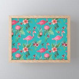 Santa Flamingo Christmas, Holiday Tropical Watercolor Framed Mini Art Print
