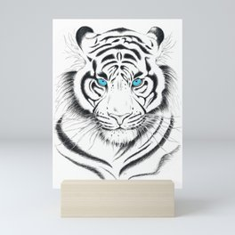 White Bengal tiger Blue Eyes Ink Art Mini Art Print