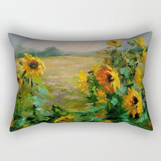 Sunflowers in a field Rectangular Pillow
