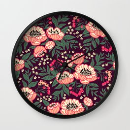 11 Floral pattern with peonies.Bright pink flowers. Dark violet background. Wall Clock