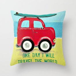 One day I will travel the world Throw Pillow