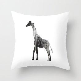 Abstract Black & White Giraffe Art Throw Pillow