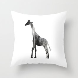 Abstract Black & White Giraffe Art Throw Pillow