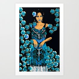 Woman Blue Carnations for the Jazz Singer Art Print