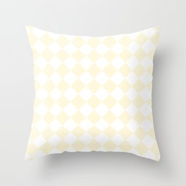 Diamonds - White and Cornsilk Yellow Throw Pillow