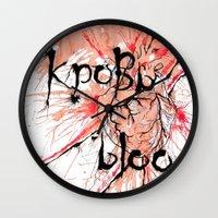 blood Wall Clocks featuring Blood by OnaElena