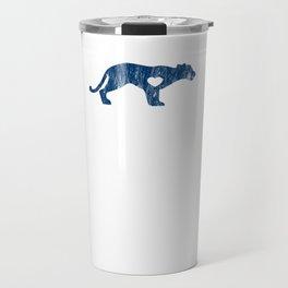 Cougar Mountain Lion Puma Big Cat Sports Mascot I Love Cougar Big Cats Blue Distressed Travel Mug