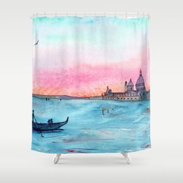 Love in Venice || watercolor Shower Curtain