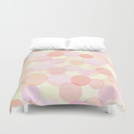 Pink and coral-red dots overprint pattern Duvet Cover