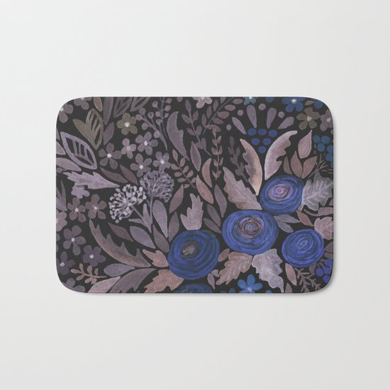 Watercolor blue flowers . The blue of the night . Bath Mat