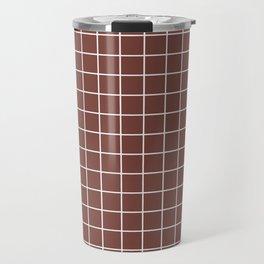 Bole - purple color - White Lines Grid Pattern Travel Mug