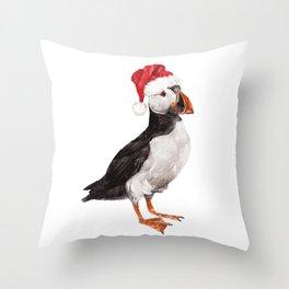 Christmas Puffin Throw Pillow