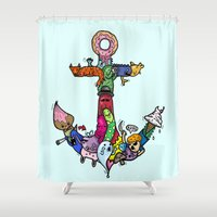 anchor Shower Curtains featuring anchor by ybalasiano