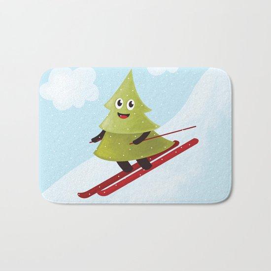 Happy Pine Tree on Ski Bath Mat