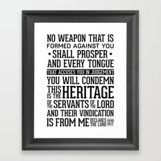 Isaiah 54:17 The Heritage Framed Art Print