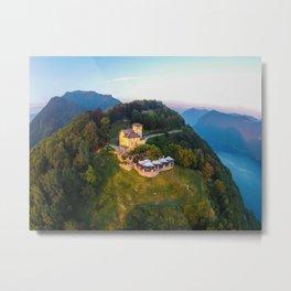 Mount Bre, Lugano, Switzerland Alpine Mountaintop Resort Restaurant lakeside photograph Metal Print