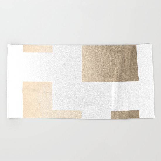 Simply Geometric in White Gold Sands on White Beach Towel