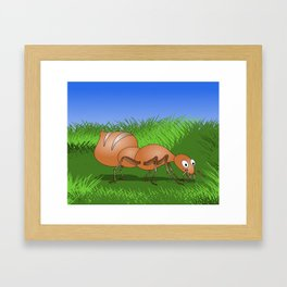 Ant smiling in tall green grass Framed Art Print