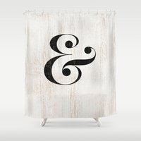 ampersand Shower Curtains featuring Ampersand by Crea Bisontine