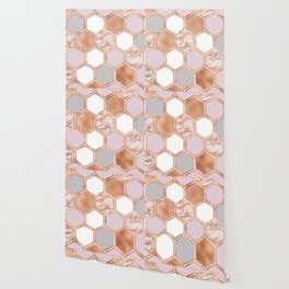 Mixed rose gold pinks and marble geometric Wallpaper