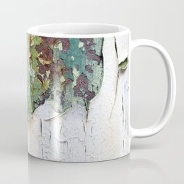 white green paint rust metal texture pattern Coffee Mug
