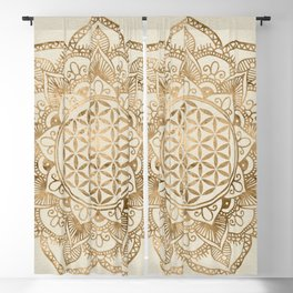 Flower of Life in Lotus - pastel golds and canvas Blackout Curtain