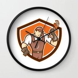 Plumber Monkey Wrench Shield Cartoon Wall Clock
