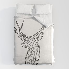 Black Line Faceted Stag Trophy Head Duvet Cover