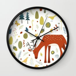 Deer and Forest Things Wall Clock