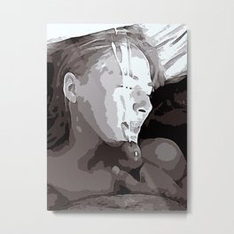 NSFW! Adult content! Cartoon sex play, cummy face, happy face poster style Metal Print